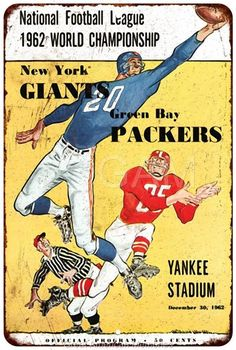 1962 NY Giants vs Green Bay Packers Vintage Reproduction Sign 8x12 8121871
