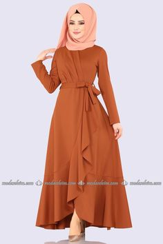 moda selvim Pile Detay Kemerli Elbise 4041-5EF311 Kiremit