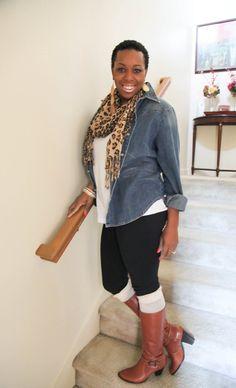 Jean shirt, white tee, leggings & boots