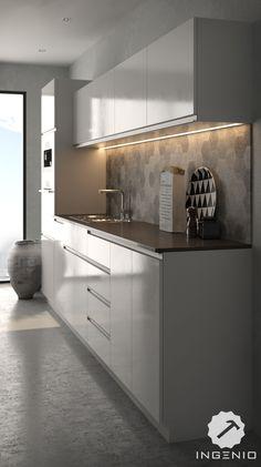 Cocina moderna en melamine blanco brillante con tiradores de perfil de aluminio.