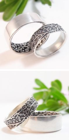 Cherry Blossom sterling silver wedding bands. Handmade by Chuck Domitrovich of Down to the Wire Designs.