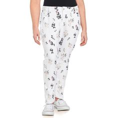 Lucky Brand Plus Women's Printed Straight-Leg Pants (3,840 INR) ❤ liked on Polyvore featuring plus size women's fashion, plus size clothing, plus size pants, white, five pocket pants, zipper trousers, zipper pants, white straight leg pants and straight leg trousers