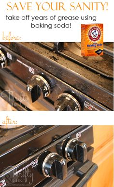 How To Clean Years of Grease Off Appliances :: Hometalk Only baking soda; wet the rag and sprinkle baking soda on it, scub appliances Cleaning Grease, Deep Cleaning Tips, House Cleaning Tips, Diy Cleaning Products, Cleaning Solutions, Spring Cleaning, Cleaning Hacks, Grill Cleaning, Weekly Cleaning