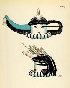 1941 Lithograph Pueblo Indian. Saiyataca, Zuni Longhorn Kachina Mask by Virginia More Roediger (via periodpaper).