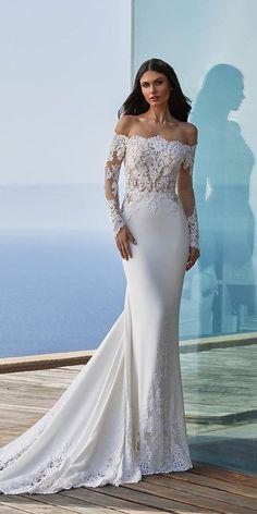 36 Chic Long Sleeve Wedding Dresses ❤ long sleeve wedding dresses off the shoulder lace with train pronovias #weddingforward #wedding #bride