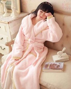 Super warm Winter coral fleece robe Coral velvet girl nightgown $71.80   => Save up to 60% and Free Shipping => Order Now! #fashion #woman #shop #diy  http://www.homeclothes.net/product/super-warm-winter-coral-fleece-robe-coral-velvet-girl-nightgown