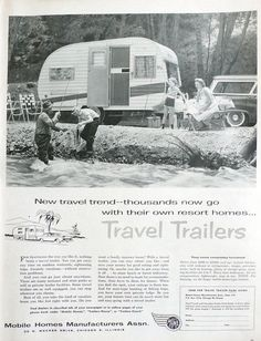 Vintage 1958 Travel Trailers camper advertisement from the Mobile Homes Manufacturers Association