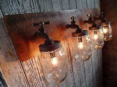 Custom 4 Mason Jar Light Fixture Faucet Style Country Reclaimed OAK Barn board