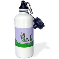 3dRose Funny Loch Ness Monster Playing Golf, Sports Water Bottle, 21oz