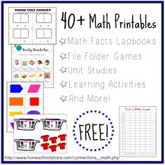 40+ FREE Math Printables from Homeschool Share