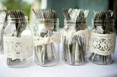 Utensil holders with burgundy ribbon or lace, etc.