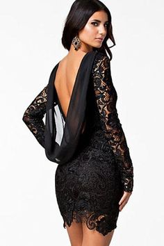 a2f55fdf3048 Open Back Trendy Vintage Black Crochet Design Dress