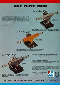 ACS Trucks ad from Skateboard! magazine, 1977