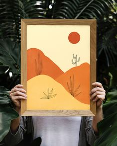 Excited to share this item from my shop: Red Sun Desert Illustration, DIGITAL - Arte Linear, Instruções Origami, Minimal Art, Simple Wall Art, Simple Canvas Art, Simple Wall Paintings, Simple Artwork, Posca Art, Guache
