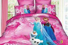 Princess Elsa Anna Frozen Cartoon Bedding Set Flat Sheet Queen/twin Size Duvet Cover Bed Sheet Pillow Case