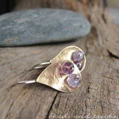 Little NuGold (red brass) drop earrings, silver earwire and amethyst | Handmade by Beads and Tricks