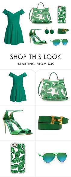 """Femigreen"" by khairun-nissa on Polyvore featuring Dolce&Gabbana, Hermès, Casetify, Italia Independent and Blue Candy Jewelry"