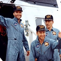 1970, Apollo 13 splashes down in the South Pacific Ocean. Crewmembers Fred Haise, Jim Lovell, Jack Swigert, step aboard the USS Iwo Jima 45 minutes after splashdown.
