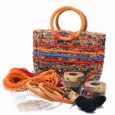 Locker hook a beautiful tote bag in vibrant color combinations with colored jute twine accent. Create a hand-crafted favorite to use or give as a gift. This kit includes all materials needed: hand-dye