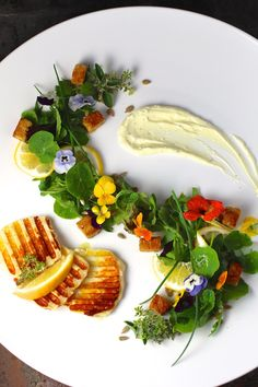 """""""Grilled Cheese"""" Salad, Savory Meyer Lemon Whipped Cream, Edible Flowers #GrilledCheese #ComfortFoodFeast #HalloumiCheese"""