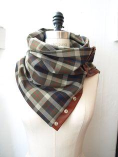 Khaki , gray , navy plaid Chunky circular infinity scarf.