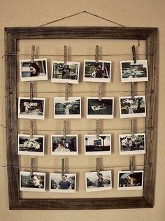 DIY Photo Frame Love the look of clothes pins Stylish Photo Frames, Diy Casa, Decoration Originale, Photo Displays, Display Photos, Hang Photos, Hang Pictures, Display Ideas, String Pictures