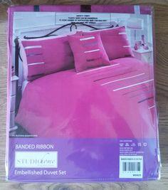 New Studio Home Double Duvet Set Cerise Pink Banded Ribbon Cover & 2 Pillowcases