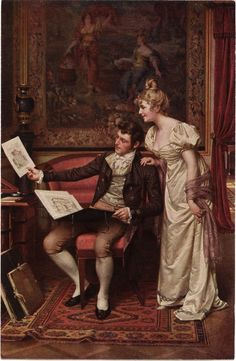 """""""Dear Laeticia, I call this piece 'Ball So Hard Playas Wanna Pop Me'. Victorian Paintings, Victorian Art, Romantic Paintings, Old Paintings, Vintage Couples, Classical Art, Couple Art, Renaissance Art, Love Painting"""