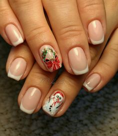 French manicure,Christmas nails, christmas nails, snowman