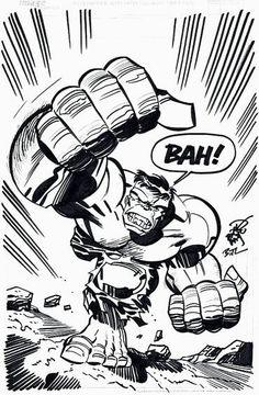 The Incredible Hulk by Erik Larsen & Bruce Timm Comic Book Artists, Comic Artist, Comic Books Art, Easy Cartoon Drawings, Cartoon Drawing Tutorial, Bruce Timm, Character Art, Character Design, Hulk Art