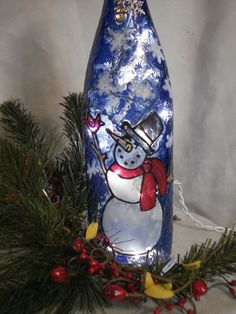 Snowman+and+Cardinal+Wine+Bottle+Lamp+by+PaintingCreationsByD,+$28.95