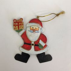 Metal Christmas Ornament Santa Claus Holding Gift Holiday Tree Decoration #Unbranded
