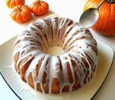 Pumpkin Bundt Cake with Surprise Cream Cheese Swirl from Cleo Coyle Pumpkin Bundt Cake, Pumpkin Pie Spice, Desert Recipes, Fall Recipes, Glaze For Cake, Delicious Desserts, Yummy Food, Bunt Cakes, Cake With Cream Cheese