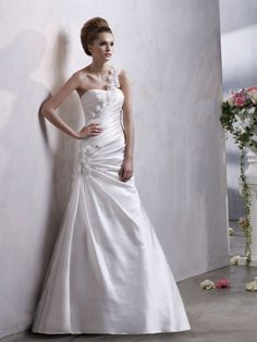 A-line One Shoulder Elastic Woven Satin Court Train Flower(s) Wedding Dresses Shop uk