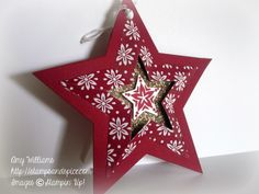 stampin up star framelits, ornament, handmade tag - tutorial for this star.