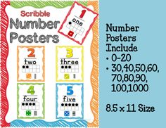 Scribble Number Posters 0-20 with ten frame, tally marks and dice!  Additional Posters added for Numbers 30, 40, 50, 60, 70,80,90, 100 and 1000.