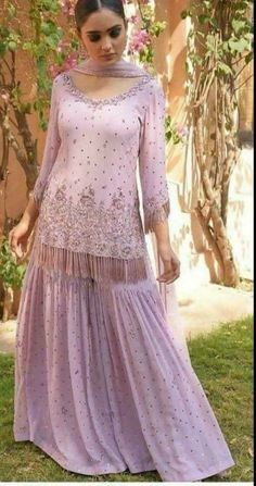 Youdesign Georgette Multi Work Gharara In Violet Colour - Pakistani dresses Sharara Designs, Indian Lehenga, Lehenga Choli, Lehenga Blouse, Indian Attire, Indian Wear, Pakistani Outfits, Indian Outfits, Indian Designer Outfits