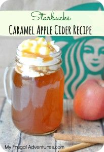 Homemade Starbucks Caramel Apple Cider with just 4 ingredients! So easy and you will save a ton of money! (has a recipe for the syrup if you don't want to buy Starbucks) Apple Recipes, Fall Recipes, Holiday Recipes, Coffee Recipes, Salmon Recipes, Drink Recipes, Starbucks Caramel Apple Cider Recipe, Yummy Drinks, Yummy Food