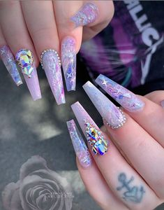 54 Awesome Acrylic Coffin Nails Design Ideas For Fall - Summer Acrylic Nails Purple Acrylic Nails, Summer Acrylic Nails, Best Acrylic Nails, Acrylic Nail Art, Nagellack Design, Nagellack Trends, Nail Swag, Glam Nails, Bling Nails
