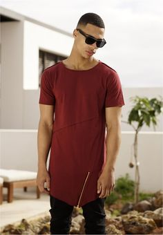 Urban Classics Long Open Edge Front Zip Tee