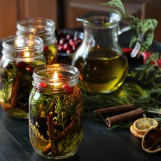 Learn how to make a Mason Jar Oil Candle Lamp with beautiful botanicals and essential oils. They make great gifts and will last for a long time.