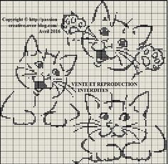 Grille gratuite point de croix : Trois petits chats... - Le blog de Isabelle