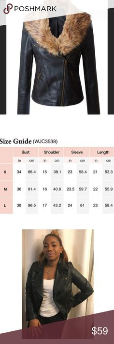 Women's coat Faux Leather Jacket with removable Fur. Slim fit. Please reference size chart for accurate sizing. Model is wearing a L. Jackets & Coats