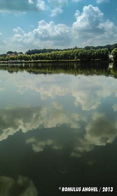 Cloud reflection  On a lake, in Mogosoaia. , Bucharest Capital Of Romania, Palace Of The Parliament, Beautiful Park, Bucharest, Eastern Europe, Botanical Gardens, Reflection, Clouds