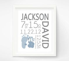 Birth Announcement Wall Art -  Baby Boy Nursery - Personalized Baby Footprint & Handprint - Baby Name Art - Nursery Decor on Etsy, $32.56 CAD