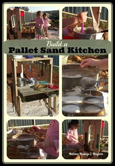 Easy Pallet Sand Kitchen Fun -Use recycled materials to create an outdoor item that will provide hours of play...from Mummy Musings & Mayhem
