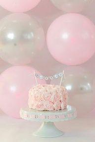 pink and blue cake smash