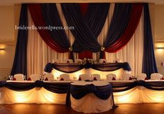 A red white and blue wedding at the Grand Baccus Banquet Hall in Markham, Toronto. Head Table Wedding, Wedding Set Up, Blue Wedding, Wedding Ideas, Wedding 2015, Wedding Blog, Wedding Gowns, Wedding Inspiration, Banquet Decorations