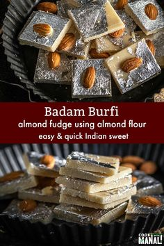 Easy Badam Burfi (Almond Fudge) made with store bought Almond Flour! You need less than 20 minutes to make this sweet! Easy Indian Dessert Recipes, Easy No Bake Desserts, Indian Desserts, Indian Sweets, Sweets Recipes, Indian Food Recipes, Delicious Desserts, Diwali Recipes, Sushi Recipes