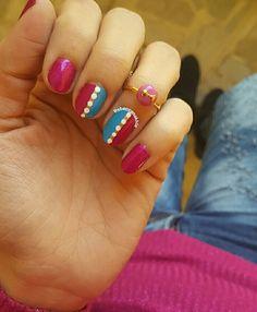 "هذه #أظافر اليوم  Another look at my Simple Magenta and Blue Nails using Dali #332 in""Bling Bling"" matching my OOTD"